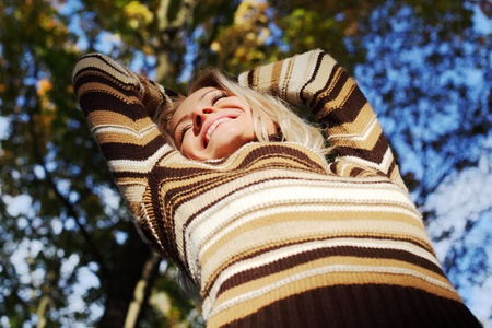 autumn woman hands in the air Stock Photo - 9862261