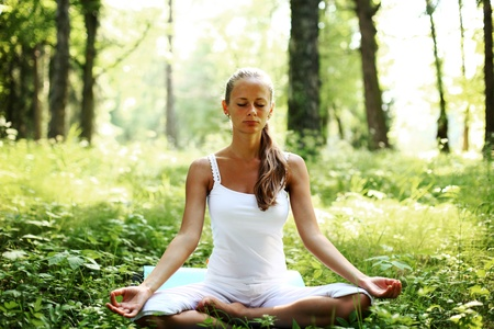 yoga woman on green grass in forest Stock Photo - 9861846