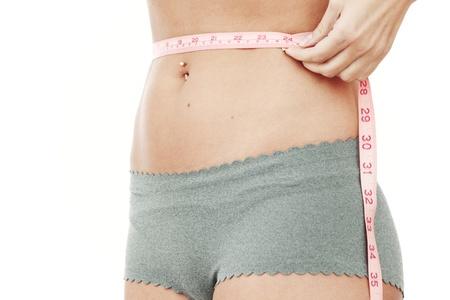 waist measurement isolated on white background photo