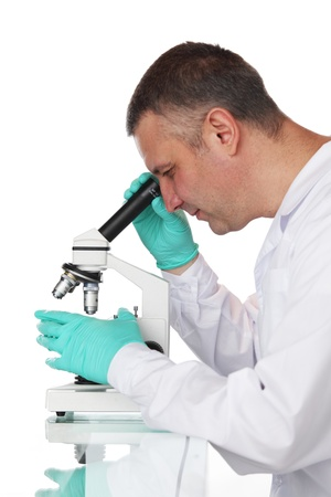 Chemistry Scientist working with microscope Stock Photo - 9906789