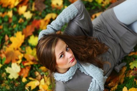 autumn woman portret in park Stock Photo - 9907059