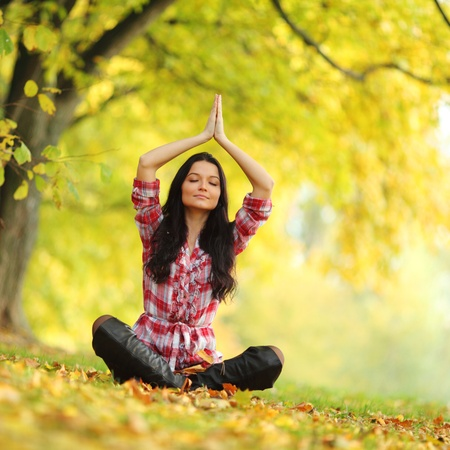 yoga woman in autumn forest in lotus pose photo