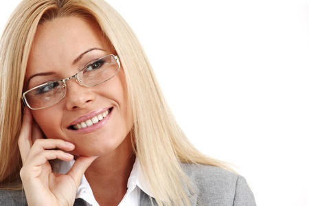 bussines: zakelijke vrouw in glazen op een witte achtergrond
