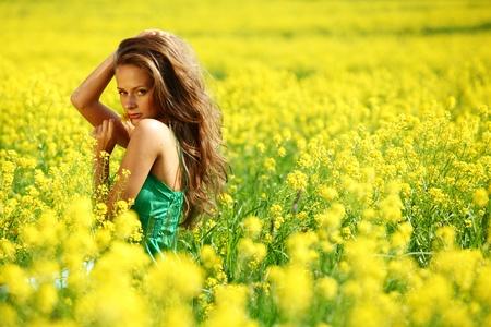 woman on oilseed field close portrait Stock Photo - 9961399