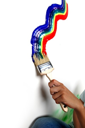 rainbow paint on the white wall Stock Photo - 9961267