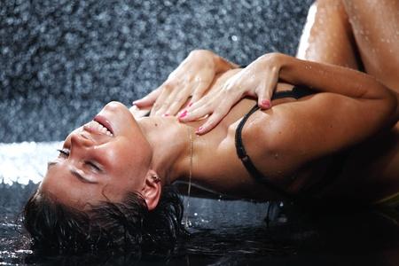 sexy woman in water studio Stock Photo - 9961646
