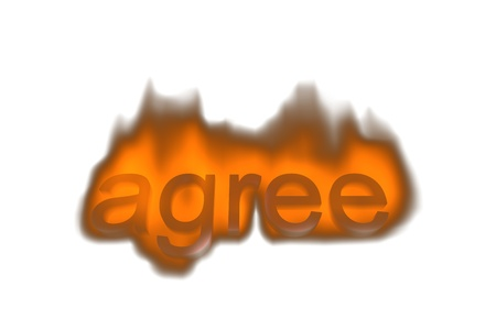 agree abstract 3d concept  in fire Stock Photo - 9960936