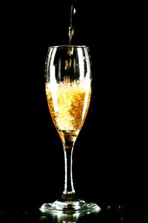 fresh graduate: champagne in glass on black background