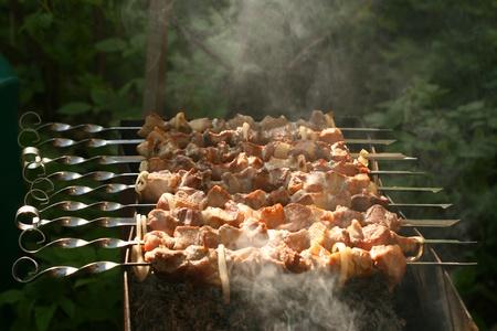 pinchos morunos: cordero caliente shish kebab en brochetas