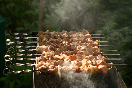 hot lamb shish kebab on skewers photo