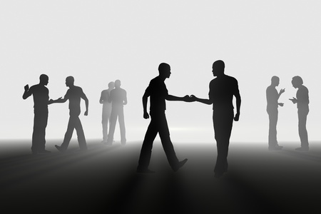 hand shake in the light 3d concept of success photo