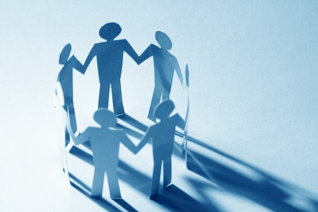 paper team linked together partnership concept Stock Photo - 9993133