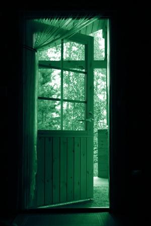 door leaf: door to autumn nature concept freedom Stock Photo