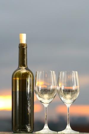 wine on sunset alcoholic background photo