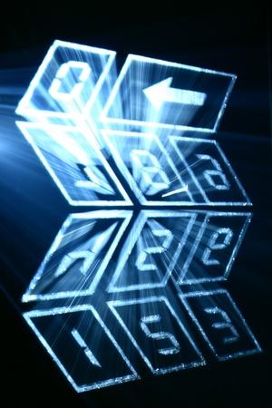 numpad: cyber numpad abstract in motion dark Stock Photo