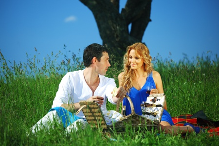 man and woman on picnic in green grass Stock Photo - 10021090