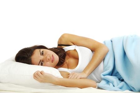 waking woman on the white pillow Stock Photo - 10020715