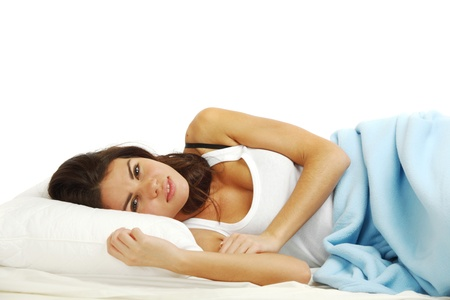 white pillow: waking woman on the white pillow