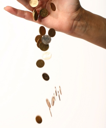 pay money: stock money rain pay from girl hand