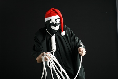 santa mime with a rope on the neck photo