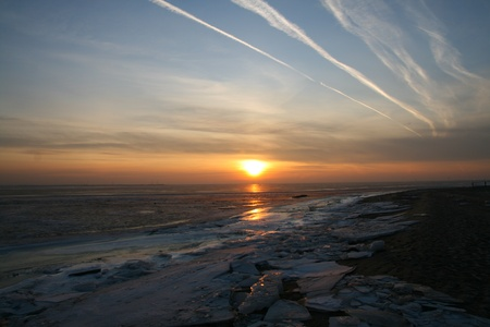 skie: sunset on blue indigo sky