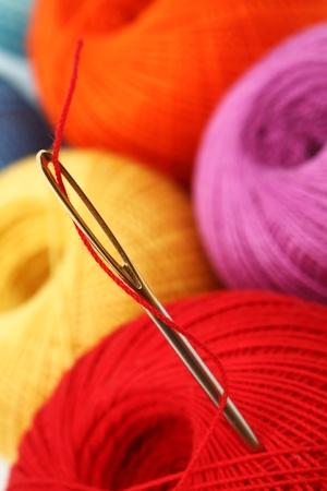 needle and thread macro close up photo