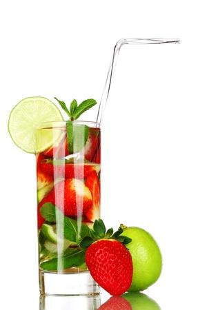strawberry mojito isolated on white Stock Photo - 10073556