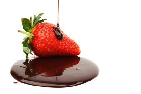 strawberry chocolate: strawberry in chocolate  isolated on white
