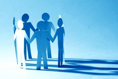 apoyo social: equipo de papel vinculan el concepto de asociación