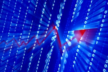 red graph in abstract data space Stock Photo - 10107892