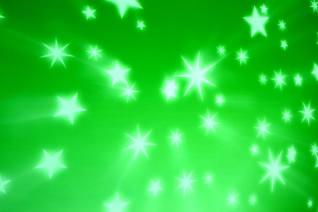 fete: green star glow abstract background