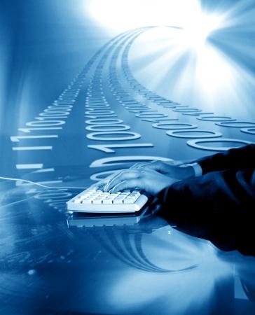 businessman input data information on keyboard