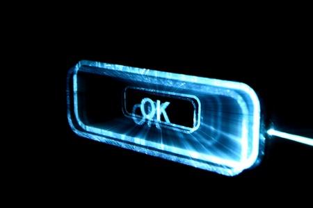 volume glow light: abstract ok button in dark Stock Photo
