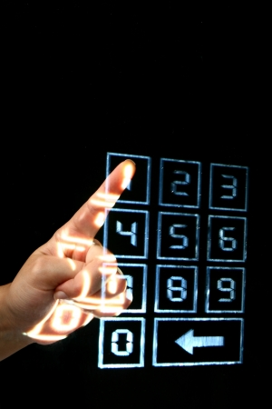 password protection: enter secret code on numpad security control Stock Photo