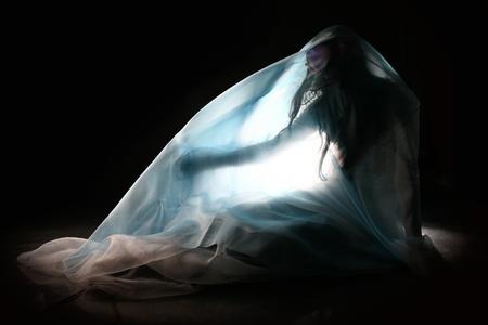 human figures: abstract alien girl figure in flue