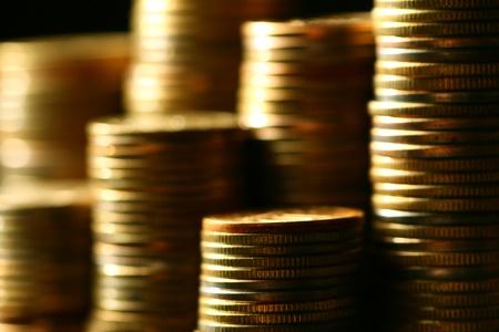 golden coins macro close up Stock Photo - 10136203