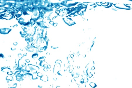 air flow: l'acqua bolle blu sfondo pulito