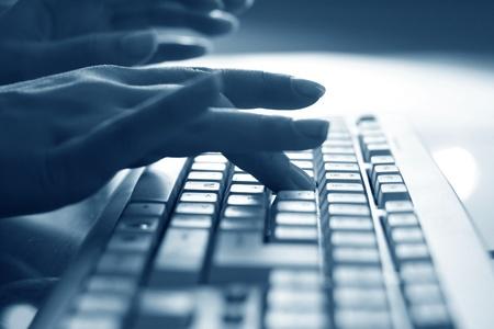 secretarias: Fondo de mano de obra de teclado Foto de archivo