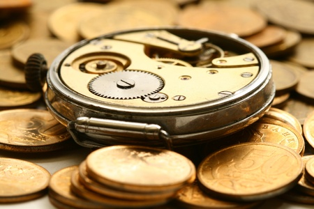 time is money coins and clock macro concet Stock Photo - 10137039