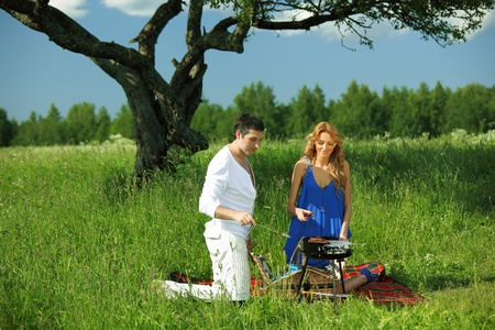 man and woman on picnic in green grass Stock Photo - 10164185