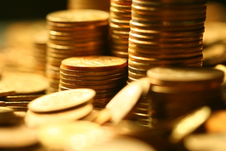 coin silver: golden coins macro close up