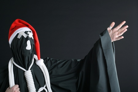 santa claus mime with rope on the neck photo