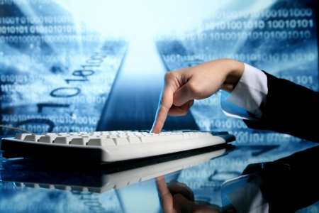 businessman input data information on keyboard Stock Photo - 10172387