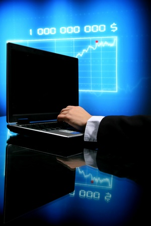 laptop finance work close up Stock Photo - 10172060