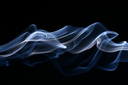 blue flame: blue smoke on black background Stock Photo