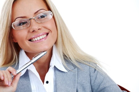 business woman in glasses on white background pen in hands Stock Photo - 10260589