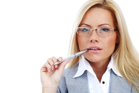 business woman in glasses on white background pen in hands Stock Photo