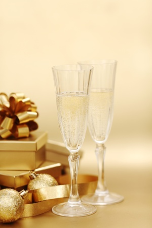 golden christmas background champagne gifts ball Stock Photo