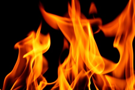 hell fire: fire on black close up abstract background