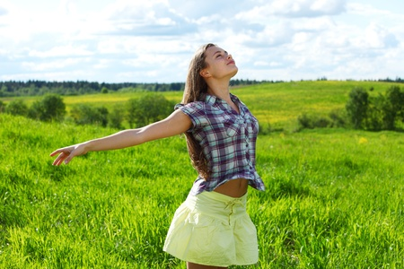 summer woman fly in blue sky Stock Photo
